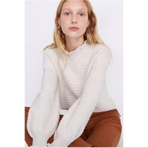 Madewell Ruffle-Neck Pullover Sweater Size XXS